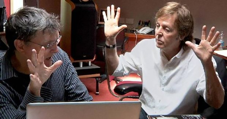McCartney working with Marty O'Donnell (photo by: Destructoid - http://www.destructoid.com/how-paul-mccartney-got-involved-with-destiny-s-soundtrack-245298.phtml)