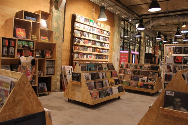 Vinyl selection at an Urban Outfitters location // via deathandtaxesmag.com
