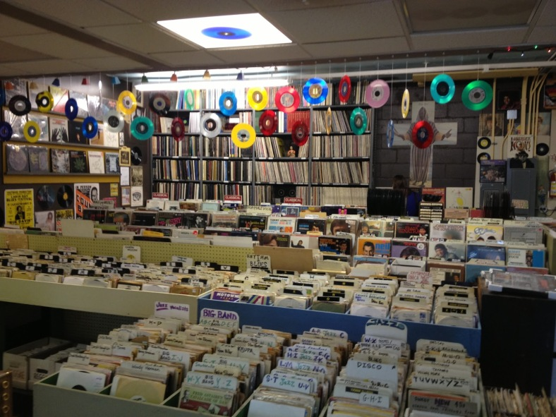 """7"""" singles and LPs galore within Hymie's doors // via picturestpaul.blogspot.com"""