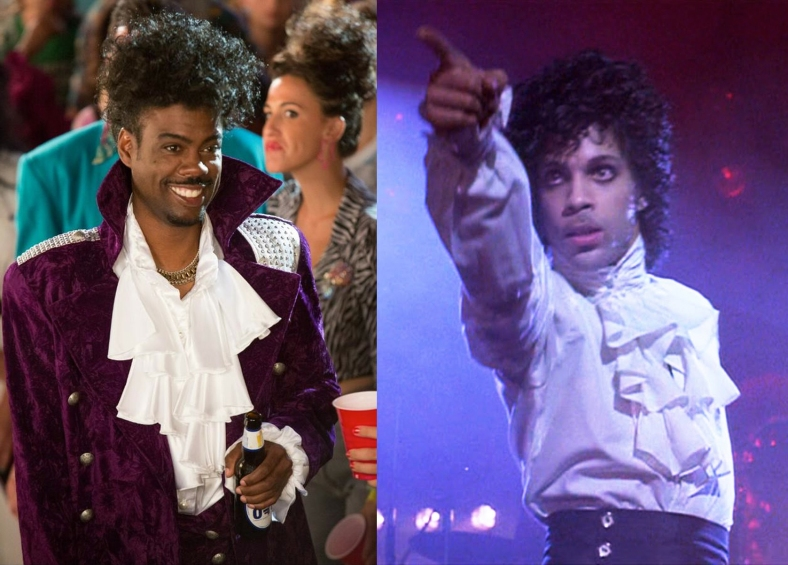Chris Rock photo via his Twitter; Prince photo via Purple Rain (1984)