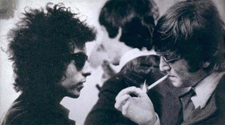 Bob Dylan gazing into the flame and cigarette held by John Lennon // via Beatle.net