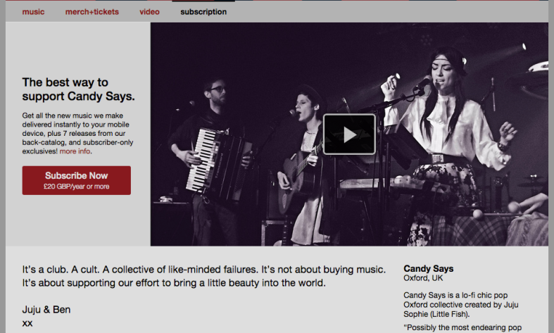 Candy Says became one of the first testers for Bandcamp's new subscription service.