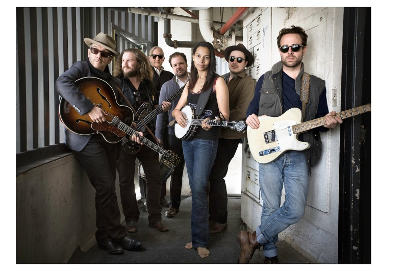 Elvis Costello, Jim James, T Bone Burnett, Jay Bellerose, Rhiannon Giddens, Marcus Mumford, and Taylor Goldsmith are pictured as The New Basement Tapes // photo by Sam Jones (Showtime Networks Inc.)